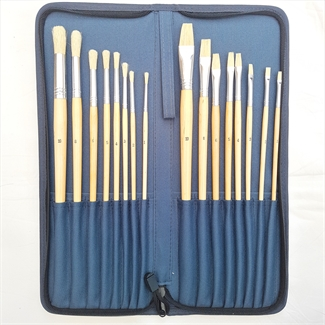 HSD Artist Paint Brushes Set Hog Hair Oil Acrylic Watercolor Nylon Zipper Case