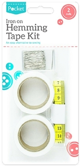 Fabric Hemming Tape Fusion Set Iron On Web Roll Cloths Sewing Turn Up Hem Pins