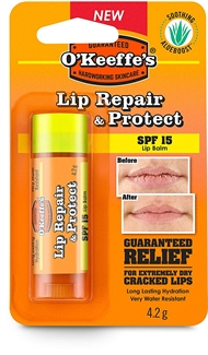 O'Keeffe's SPF15 Lip Balm Repair & Protect Ski Sun Cracked Holiday 4.2g Therapy