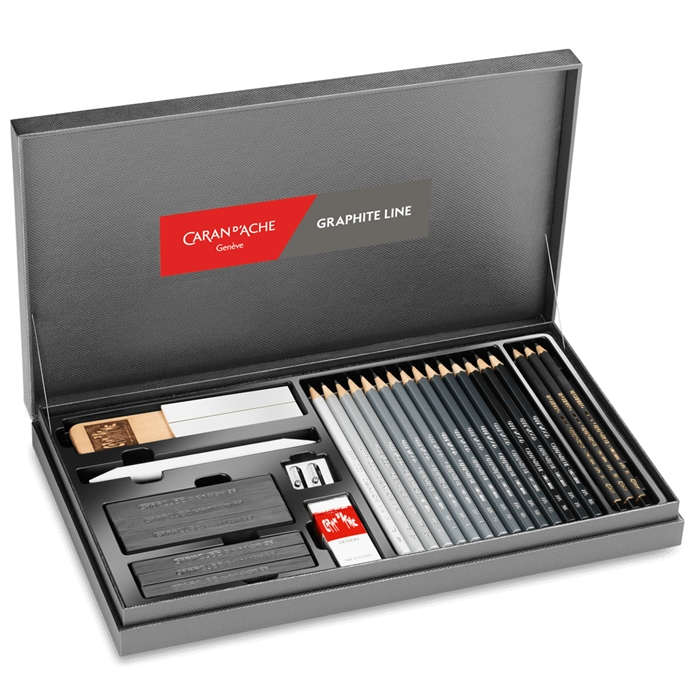 Caran d'Ache Graphite Line Satin Graded Pencils Gift Box Set Shading Blenders