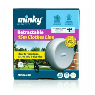 Minky 15m Retractable Single PVC Reel Outdoor Washing Clothes Line