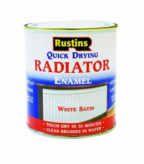 Rustins Quick Dry Radiator Paintr Satin Enamel Metal Paint Panel Heaters - 2 Sizes