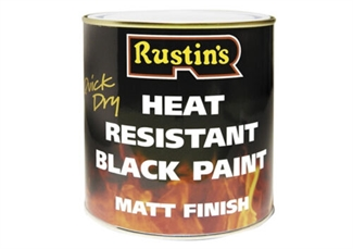 Rustins Heat Resistant Quick Drying Black Paint Matt Finesh - 500ml