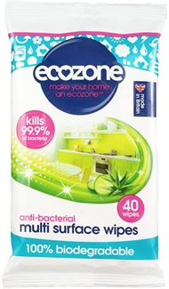 ECOZONE 40 pack Multi Surface Wipe Kills 99.9% Biodegradable Anti-Bac