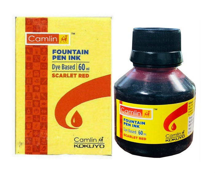 Camlin Red Fountain Pen Ink Bottle Drawing Dip Brush Airbrush Dye Based Refil Camel