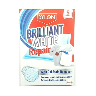 DYLON Brilliant White Fabric Repair With Oxi Stain Remover Wash 5 Sachets