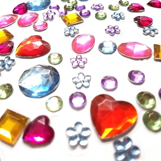 129 Self Adhesive Acrylic Gems Stones Mixed Colour Jewels Sticky Shapes Stickers