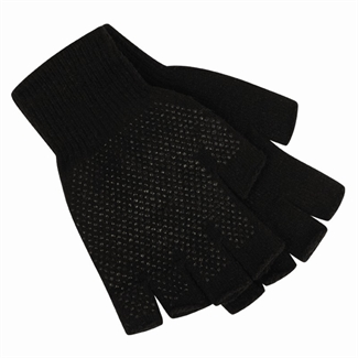 Mens Fingerless Gloves, Grip, Gripper, Half Finger Work Glove,Garden,Adult,Black