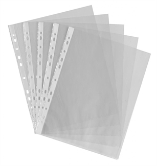A4 Clear Plastic Wallets / Punched Pockets / Filing / Folder Sleeves PK50