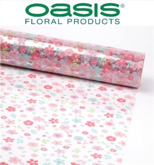 Cellophane Pink Floral Film Roll 80cm Wide