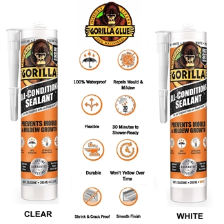 NEW Gorilla Glue All Conditions Sealant Tube 295ml Multi Use Silicone Waterproof in White and Clear