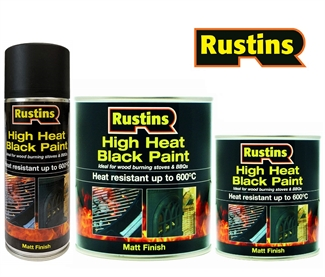 Rustins High Heat Resistant Paint Matt Black BBQ Stoves Fireplaces 600ºC Temp -  3 Sizes